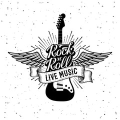 Rock and Roll Live Music Guitar Vector illustration
