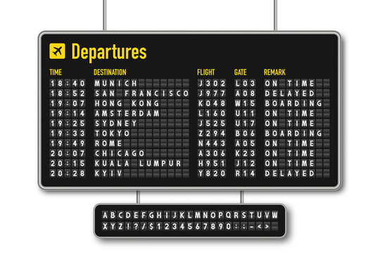 Departure and arrival board, airline scoreboard, mechanical split flap display. Flight information display system in airport. Airport style alphabet with numbers