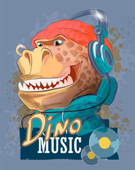 Dinosaur rapper in headphones and a hat. Tyrannosaur, typography slogan.Cartoon character. Can be used for print design greeting card used for print design, banner, poster, flyer template