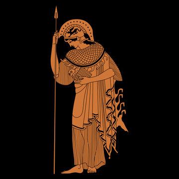 Ancient Greek goddess Athena. Vase painting style. isolated vector illustration.