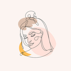 Wall Mural - Modern abstract face. Contemporary outline female silhouette. Colored spots. Hand drawn outline trendy vector illustration. Continuous line, minimalistic concept. Pastel colors