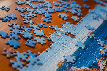 Partially solved jigsaw puzzle