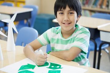 Portrait of Latin American elementary student in classroom
