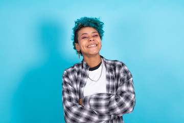 afro american girl smiling cheerful isolated on color background
