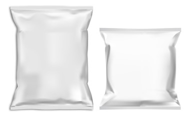 Food snack pillow bag mock up. White pouch blank vector template. Chocolate candy foil sachet. Chips product closed polymer container illustration for merchandise advertising. Ready soup paper box
