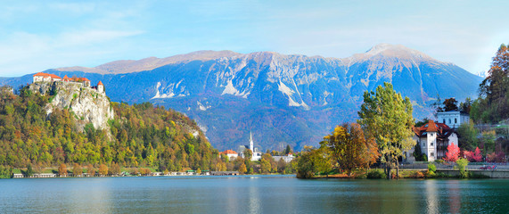 Panorama of Lake Bled, Slovenia in the Fall