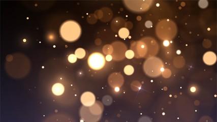 Vector background with golden bokeh dust, blur effect, sparks Fotomurales