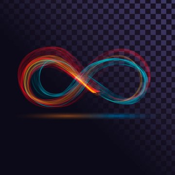 Colorful transparent sign of infinity, Mobius strip of colorful smoke