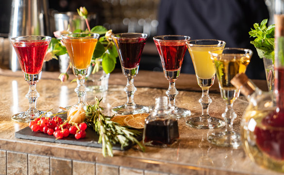 Different Bitters And Liqueurs in the bar