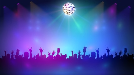 Night club with a crowd and disco ball, music event and dance