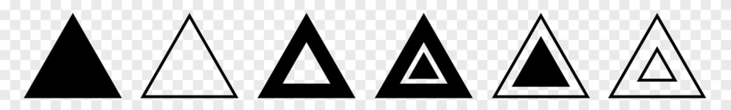 Triangle Icon Black | Label Triangles | Frame Logo | Emblem | Traffic Sign | Road Symbol | Isolated | Transparent Variations