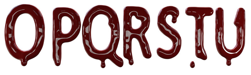 Creepy letters made from red fresh blood. 3d render isolated on white background.
