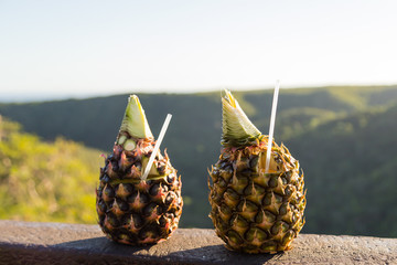 Pina Colada cocktail in pineapple on tropical background