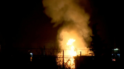 Fire breaks out following an explosion at a chemical factory in Tarragona
