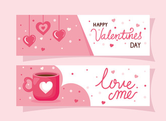 set of happy valentines day cards vector illustration design