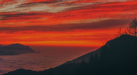 Canvas Prints Cuban Red sunset in mountains