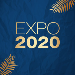 Expo 2020 Dubai vector illustration gold on a color of the year 2020 Classic Blue crumpled paper background