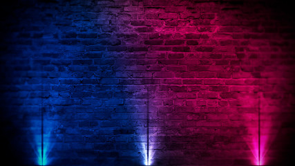 Old brick wall with neon lights. Neon shapes on brick wall background. Dark empty room with brick...