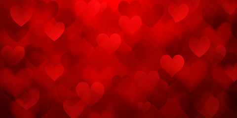 Background of translucent blurry hearts in red colors. Illustration on Valentine's day