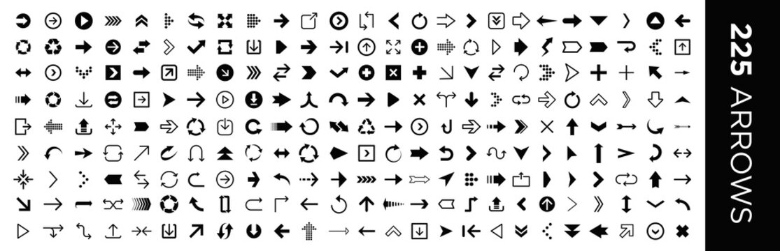 Arrows set of 225 black icons