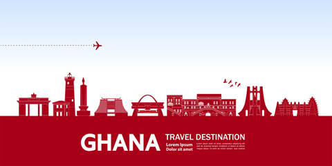 Ghana travel destination grand vector illustration.