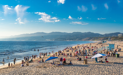 A view of the Santa Monica State Beach from the pier