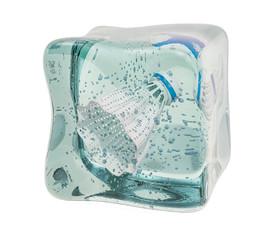 Badminton shuttlecock frozen in ice cube, 3D rendering