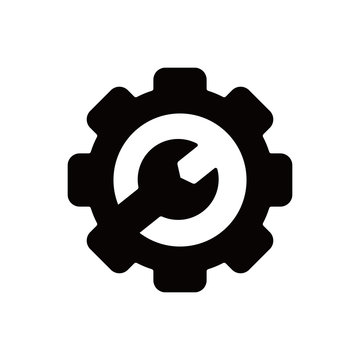 Mechanical gear icon with wrench in the middle for repair in white background .