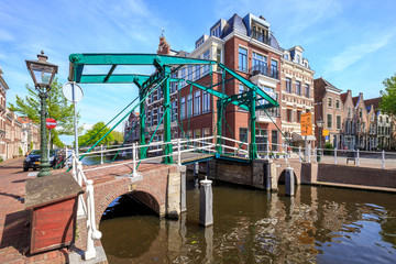 Kerkbrug. The traditional iron bridge over the river Oude Rijn in Leiden, The Netherlands.