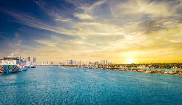 Sunset in Miami Port