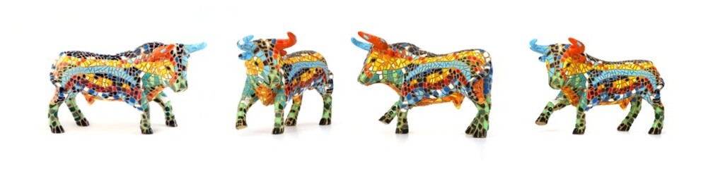 Souvenir figure of a bull  (Spain) isolated on white background
