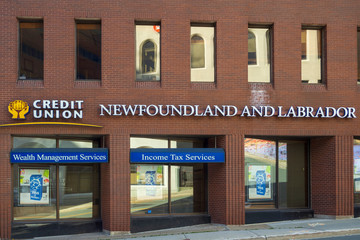 ST. JOHN'S, NEWFOUNDLAND AND LABRADOR, CANADA - OCTOBER 27, 2018: Newfoundland and Labrador Credit Union sign advertising the service of the bank, taken on October 27 in St. John's.