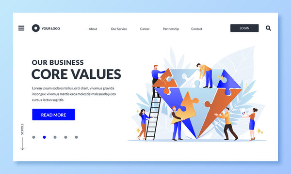 Business core value concept. Vector flat cartoon illustration. People team assemble diamond shape puzzle