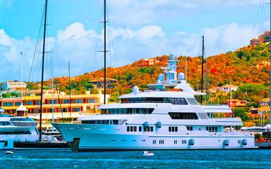 Scenery with Marina and luxury yachts at Mediterranean Sea of Porto Cervo in Sardinia Island of...
