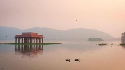 Wall Mural - Blissful morning at romantic Jal Mahal Water Palace in Jaipur. Rajasthan, India