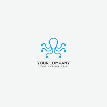 tentacle logo,character logo, octopus mascot logo, line art logo