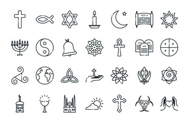 Icon set of world religious world symbols vector design