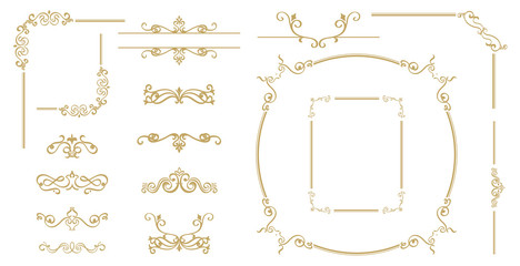 Luxury Gold vintage invitation vector set. Ornamental curls, dividers, Border design  and golden components design  for wedding invite, menus, certificates, boutiques, spa and logo design.