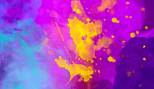 Vibrant colorful abstract watercolor hand painted background