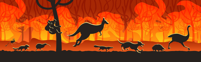 australian animals silhouettes running from forest fires in australia wildfire bushfire burning trees natural disaster concept intense orange flames horizontal vector illustration