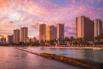 Skyline of Honolulu at Waikiki beach, Hawaii, US
