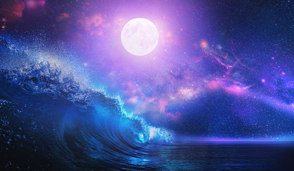 Wall Mural - Beautiful night ocean scenery with surfing wave and full moon on tropical background