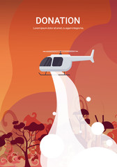 helicopter extinguishes dangerous wildfire in australia fighting bushfire dry woods burning trees firefighting natural disaster donation concept intense orange flames vertical vector illustration