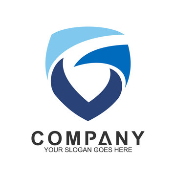 Shield Letter G Logo In Wave Motion Shape, Protection And Care Logo, Guardian Symbol