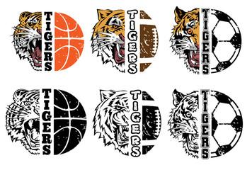 Tiger face head half soccer basketball  american football vector graphic clipart design