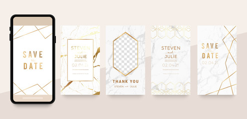 Fotobehang - Wedding invitation cover design for Social media posts, story and photos, Editable collection backgrounds with luxury marble and golden element decoration- vector