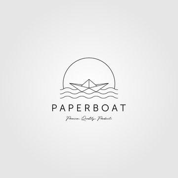 line art paper boat logo minimalist vector emblem illustration design