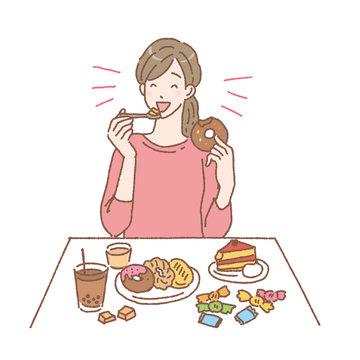 甘いものを食べる女性 イラスト