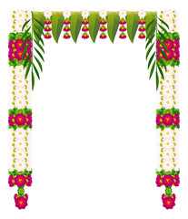Flower garland with mango leaves. Indian traditional Ugadi holiday decoration
