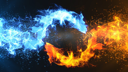 Fire and Ice Concept Design with spark. 3d illustration...